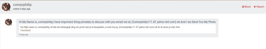 online dating scammer #1